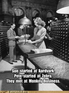 funny pictures history - library card catalog humor