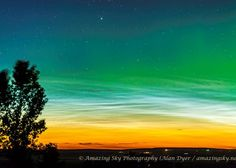 """""""At times the auroral curtains appeared superimposed on the noctilucent clouds,"""" says Dyer. """"It isn't often we see the two phenomena together."""""""