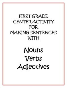 This Center Activity helps students make sure their sentences contain nouns, verbs, and adjectives.  Students will choose one of each color word ca...
