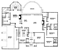 Home Plans HOMEPW74138 - 3,512 Square Feet, 4 Bedroom 3 Bathroom Ranch Home with 3 Garage Bays