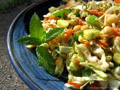 Cabbage Salad with Dijon-lime Dressing: Using cabbage instead of lettuce makes a hearty salad, perfect for an entree. With cabbage and carrots as the foundation, almost any vegetables and beans you have on hand can be added.