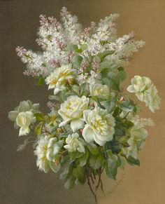 Paul de Longpre ~ lilac & light yellow roses