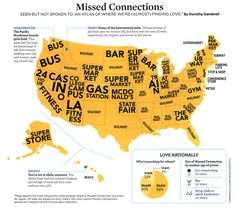 """Map of where most people have """"missed connections"""" - WA is on the bus!"""