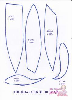 Moldes de Fofucha Tarta de Fresa. En la entrada de mi blog: http://mispecosasdegomaeva.blogspot.com.es/2014/03/fofucha-tarta-de-fresa-moldes.html