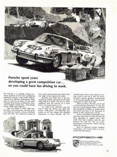 "PORSCHE 912 & 911 Targa 1968 Race Car Ad ""Toughest Competition"""