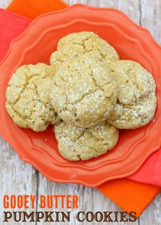 Ooey Gooey Butter Pumpkin Cookies!! They are so soft, easy, yummy and perfect for fall! #pumpkin #cookies pumpkin recipes, butter pumpkin, pumpkin cookies, pumpkin cakes, food, cake mixes, gooey butter, fall pumpkins, pumpkin dessert