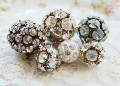Large Vintage Rhinestone Balls Drops Crystal by alyssabethsvintage, $24.00
