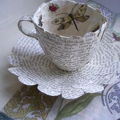 """Folksy :: Buy """"Paper Cup and Saucer with Butterflies""""   Craft Juice - Handmade Social Network"""