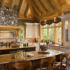 cedar product, log cabin homes, beauti kitchen, country cabins, dream hous, kitchen design, home kitchens, country kitchens, dream kitchens