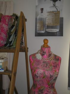 up cycled ladder and mannequin.