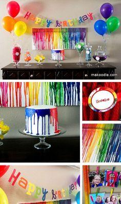 Rainbow crayon birthday party theme