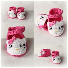 Baby Girl Slippers Booties Crochet with Kitty PATTERN 0-6 6-12 month in PDF.  hello  kitty bootie