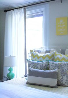 Home decor, Yellow, gray, and Turquoise bedroom. Click here and learn how to diy these curtain panels that were orginally made from just sheets!