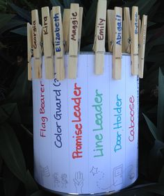 Girl Scout Troop Kaper Chart in a Can! I think I would put the girls names on the outside and the chores on the clothespins and they could reach in the can to choose their chore for the day.