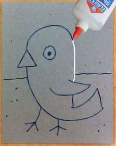 Art Projects for Kids: Glue  Foil Drawing Tutorial