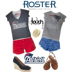 """""""Patriots Touch Outfit"""" by rosterstores on Polyvore Featured Item: @Jacob McPherson Renquist Pillai England Patriots @Juan Manuel Sanchez Madrid By Alyssa Milano Two Sided Tee: $35 Item Number: 476001-401"""