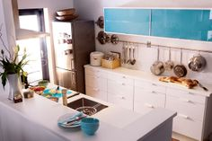 modern turquoise kitchen ideas ikea, small kitchens, blue kitchens, cabinet doors, decor small, chic home decor, design, blues, kitchen cabinets