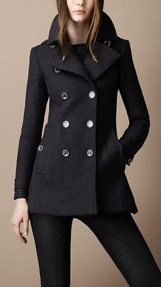 Black Pleat Military Coat | Burberry