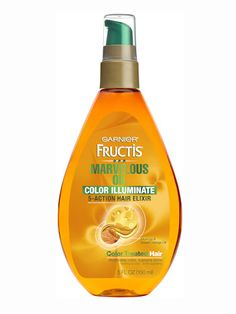 "Best for dyed hair - Garnier Fructis Marvelous Oil Color Illuminate 5-Action Hair Elixir, $5.99 This is designed to restore shine to color-treated hair—but we took it on a humid Caribbean vacation and discovered it also nixes frizz and keeps salt and chlorine from turning your shade brassy.  ""It made my fine blonde hair more luminous—and not at all weighed down."" —Victoria Kirby, beauty director"