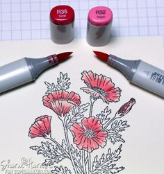 Coloring Poppies with Copic Markers - bjl
