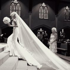 I really like the idea of having a long veil instead of a long tail to my dress. Veil can be taken off for reception and I won't have to worry about watching the tail of my dress or who steps on it.