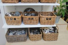 AISWA International Study Visit Day 3                                    Wingate Children's Centre, Co Durham - Inspired EC Environment    Baskets of open-ended materials. Rocks, metal strainers, cans, shells, etc....