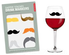 mustache wine glass stickers