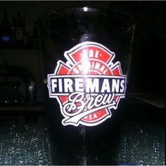 Fireman's Brew Brunette in our custom pint glass at Los Angeles Brewing Company in Downtown LA