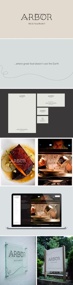 Minimalist vector artwork and simple typography for Arbor Restaurant.