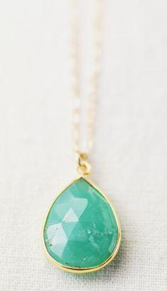 Kaiko necklace gold chrysoprase pendant