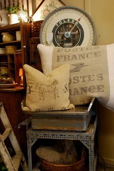 grain sack pillow, vintage scale