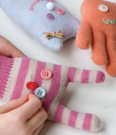Craft: Kid Glove Toys. Not sure what to do with lonely, cast-off gloves? Turn them into toys with this fantastic craft from Green Crafts for Children by Emma Hardy (23.00, CICO Books). craft kids, toy, green crafts, junior craft, kid glove, glove monster