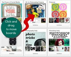 How to move boards in Pinterest: simply click on the cover image of a board and drag it to the location you would like to move it to. That's it...