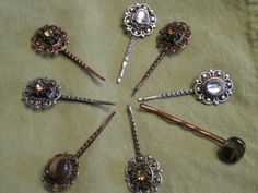 My friend's first craft project...upcycled vintage jewelry to make bobbie pins--so cute!