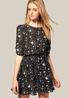 Black Galaxy Print Belt Half Sleeve Dress