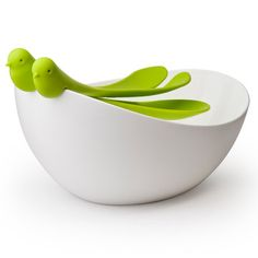 Salad Bowl & Servers in White & Green.