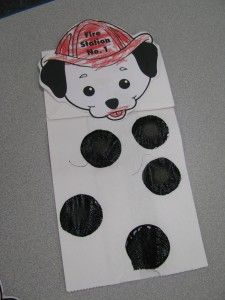 Preschool Fire Safety theme. Dalmation paper bag puppet.