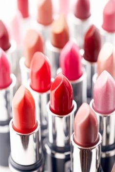 A rainbow of lipsticks
