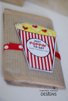 Popcorn Love Cut outs Valentine Card Craft by CupcakeCutieesParty