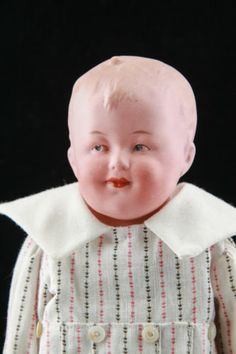 "Rare Bisque 13"" Antique German Smiling Heubach Character Shoulder Head Doll"