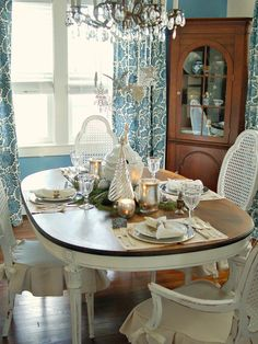Wintry Mix in Classic Silver and White Christmas Table Decor from HGTV