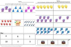 Children love birthday parties. And children love activities where they can use scissors and glue sticks. I created this packet Birthday Fun Counting CUT AND PASTE WORKSHEET SET to combine the two. This birthday counting packet consists of 22 worksheets that use birthday graphics from birthday cakes, to birthday presents, balloons, to party hats. Birthday Fun Counting Cut and Paste is a fun way for students to celebrate birthdays while practicing their counting skills.