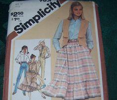 Vintage Simplicity Skirt Pants Shirt Vest by vintagecitypast, $10.00