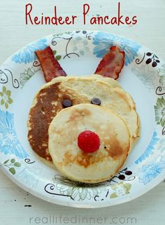 pancak side, christma morn, christmas morning, pancakes, christma fun, yummi, reindeer pancak, mornings