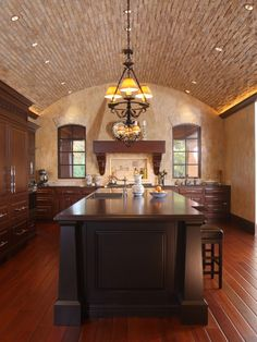 Cloister Ceilings Design, Pictures, Remodel, Decor and Ideas - page 6  Love the barre with brick veneer