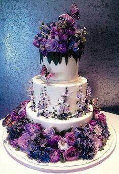 butterfli, cake wedding, flower cakes, purple flowers, garden cakes