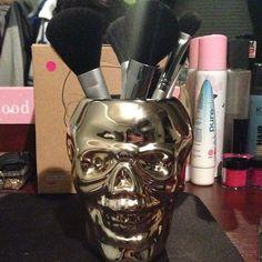 makeup brush, idea, skull makeup, brushes, beauti, brush holder, hair