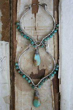 Lodestar Lantern Hoops-turquoise, sterling-handmade jewelry  #jewelry #earrings #handmade #deryn
