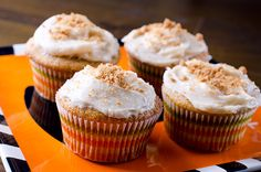 Pumpkin Cupcakes with Biscoff Cream Cheese Frosting Recipe
