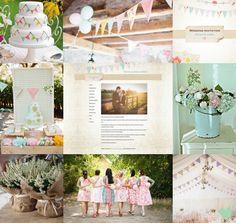 Shabby Chic Bunting Wedding Styling Mood Board from The Wedding Community
